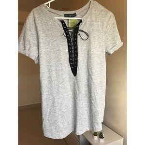 Grey sexy tie up t-shirt